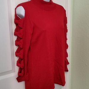CeCe cold shoulder sweater bow sleeves size M